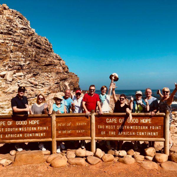 Gelukkige mensen bij Kaap de Goede Hoop
